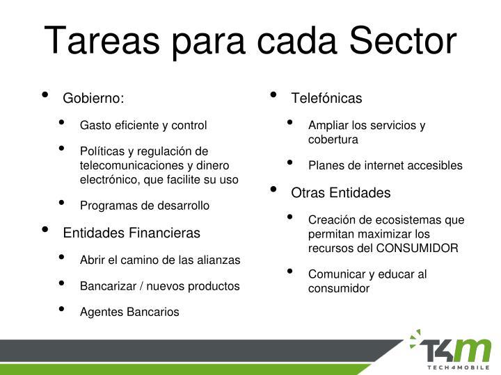 Tareas para cada Sector