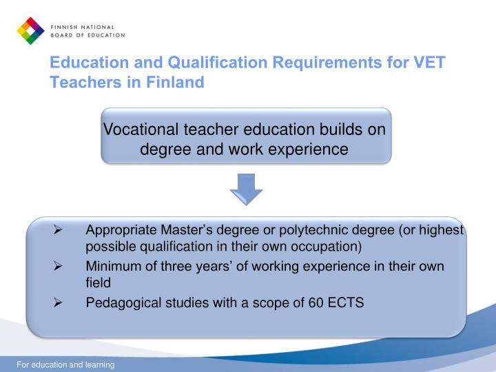Education and Qualification Requirements for VET Teachers in Finland