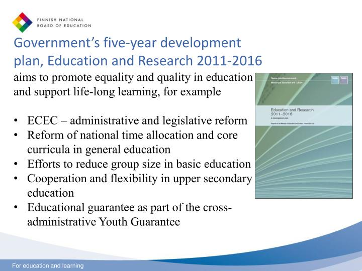 Government's five-year development plan, Education and Research 2011-2016
