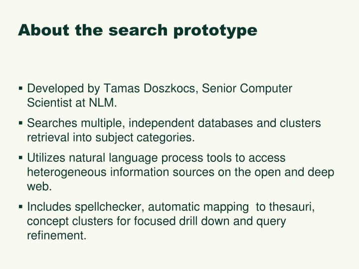 About the search prototype