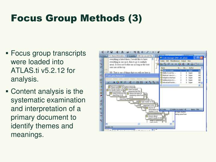 Focus Group Methods (3)