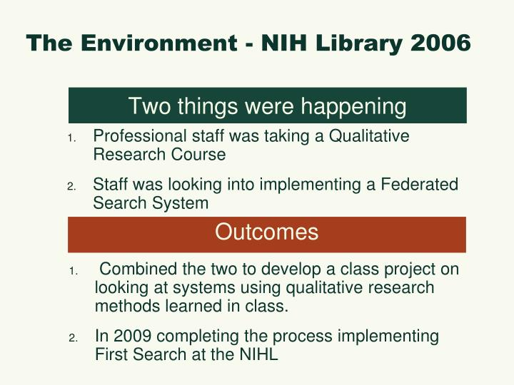 The Environment - NIH Library 2006