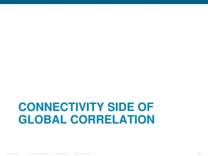 Connectivity side of Global Correlation