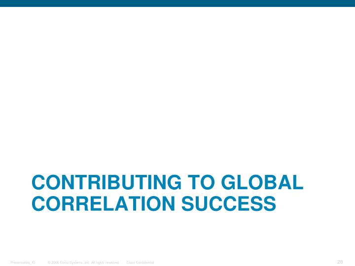 Contributing to Global Correlation Success