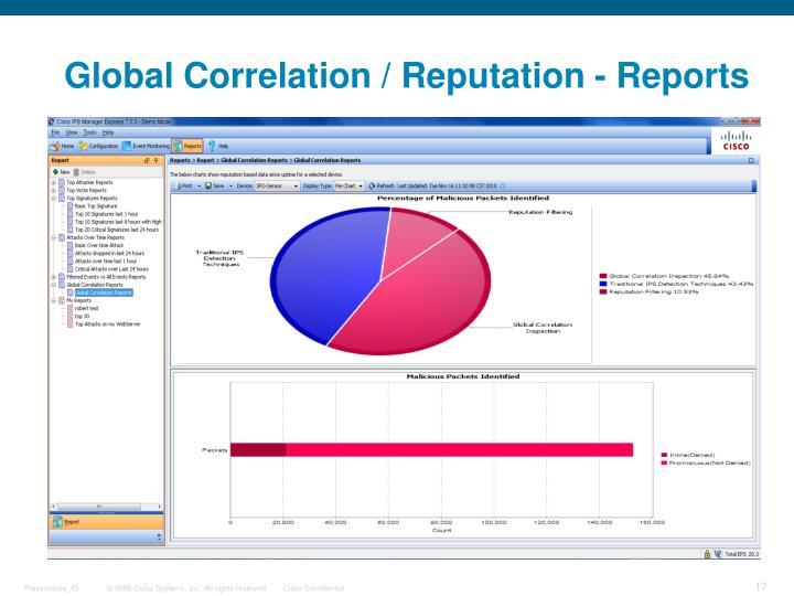 Global Correlation / Reputation - Reports