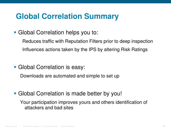 Global Correlation Summary