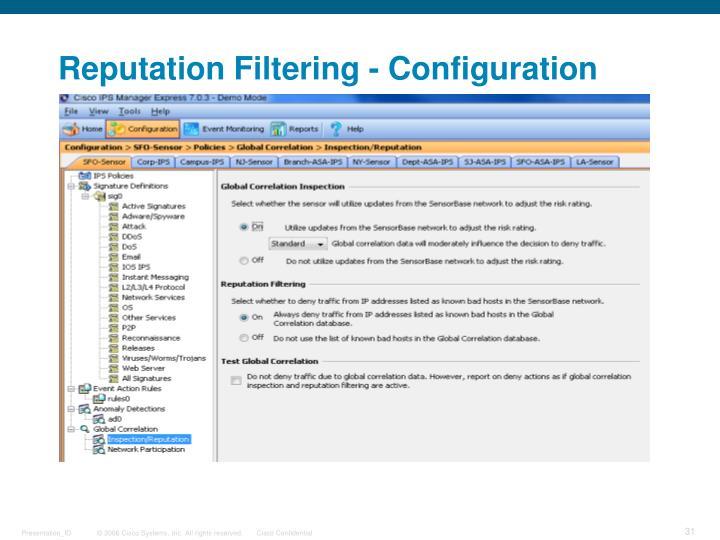 Reputation Filtering - Configuration