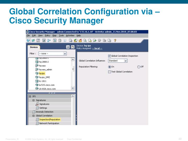 Global Correlation Configuration via