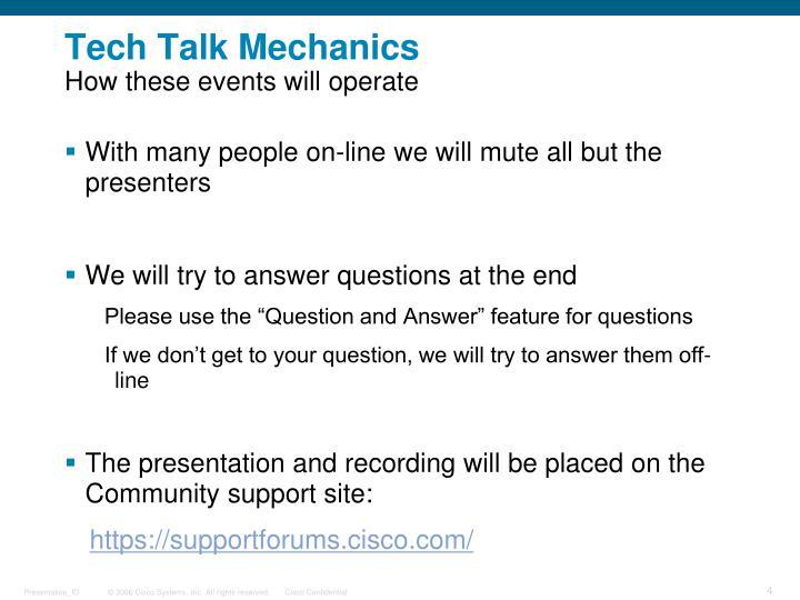 Tech Talk Mechanics