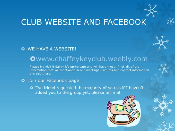 CLUB WEBSITE AND FACEBOOK