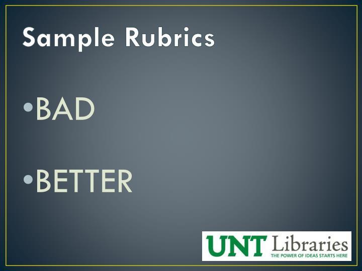 Sample Rubrics