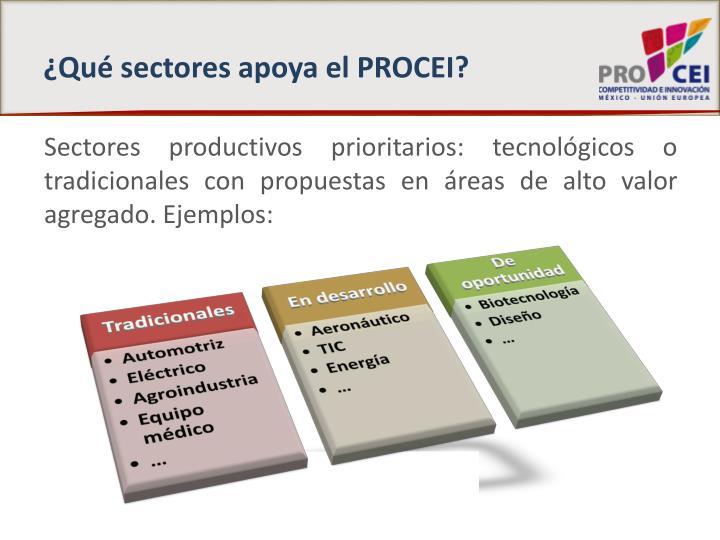¿Qué sectores apoya el PROCEI?