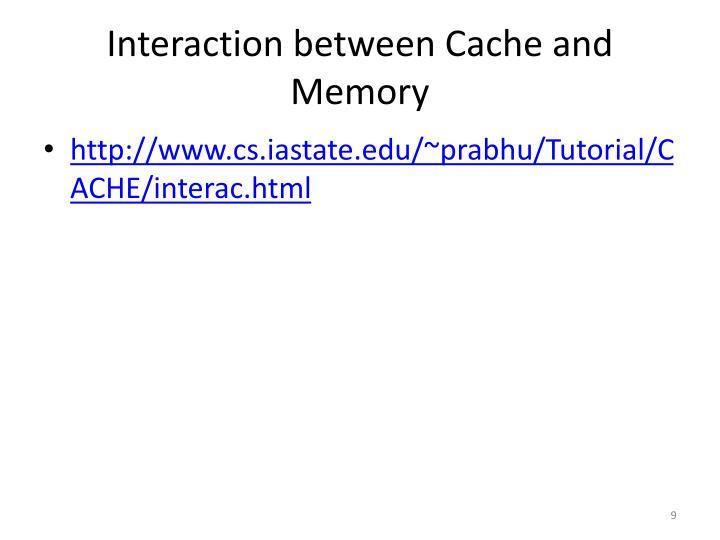 Interaction between Cache and Memory