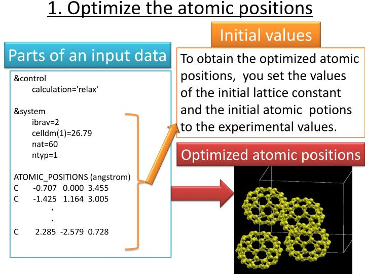 1. Optimize the atomic positions
