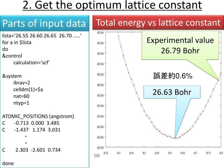 2. Get the optimum lattice constant