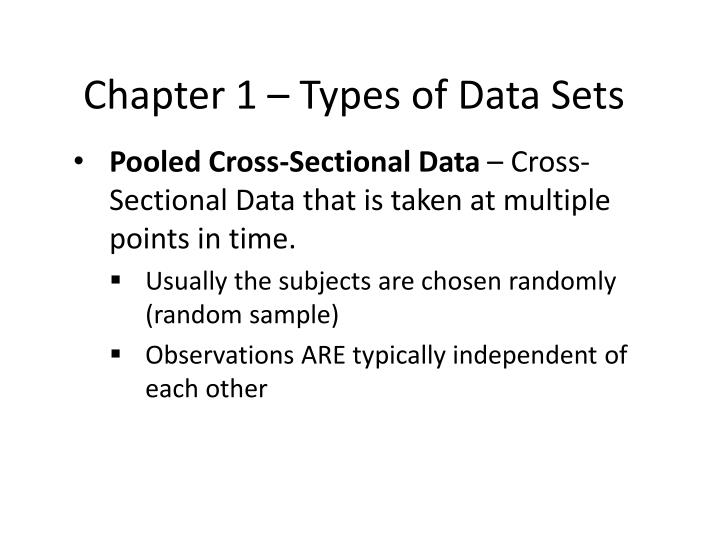 Chapter 1 – Types of Data Sets