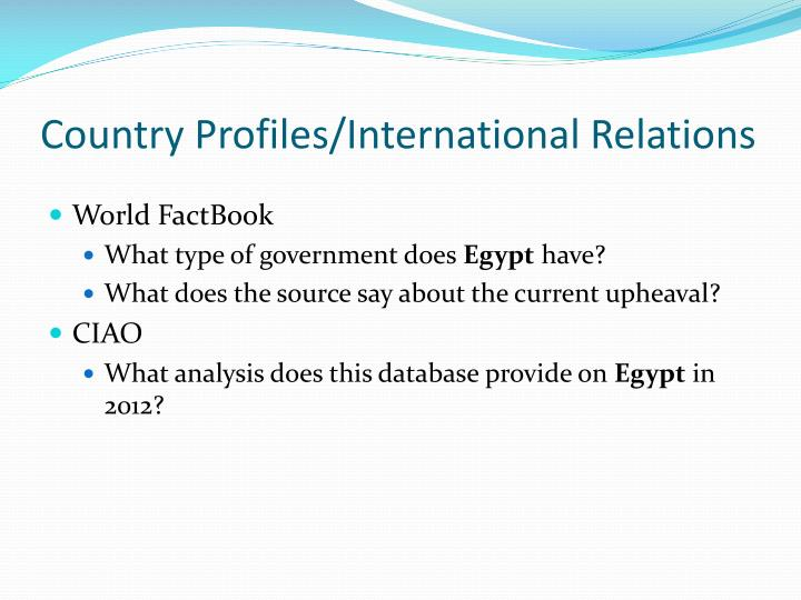 Country Profiles/International Relations