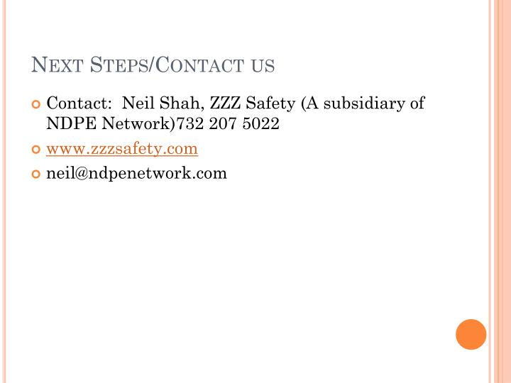 Next Steps/Contact us