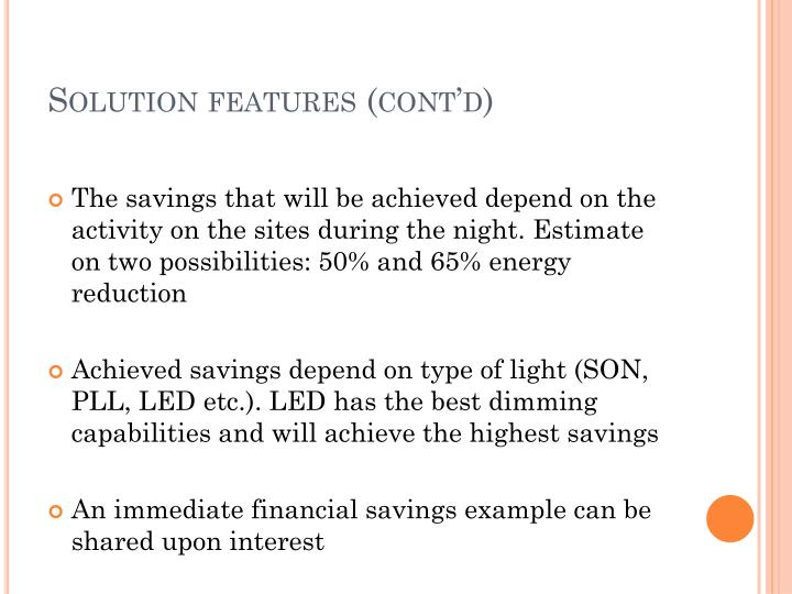 Solution features (cont'd)