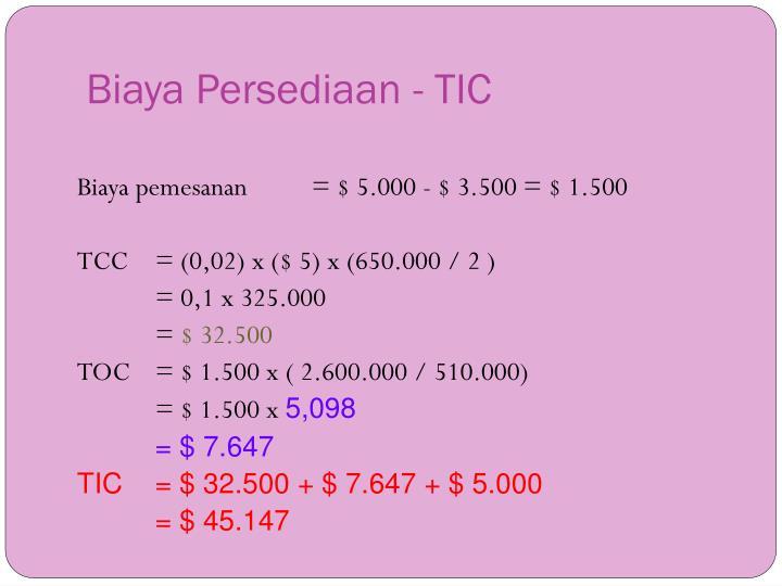 Biaya Persediaan - TIC