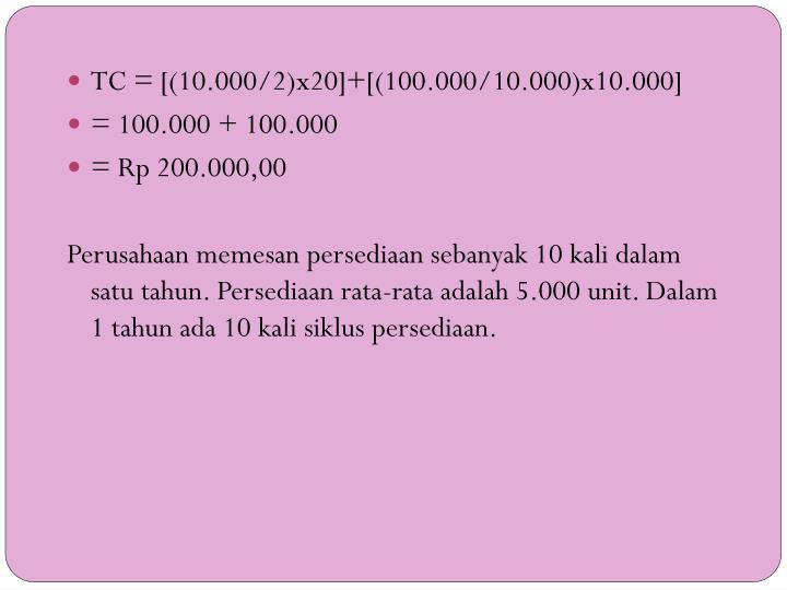 TC = [(10.000/2)x20]+[(100.000/10.000)x10.000]