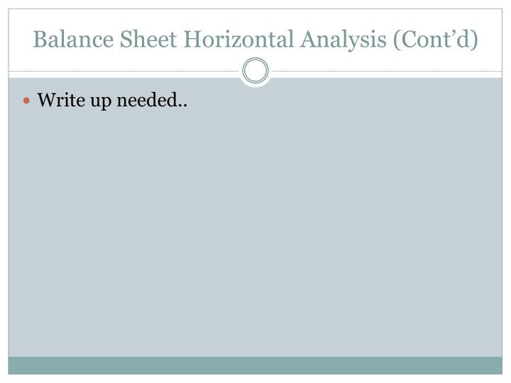 Balance Sheet Horizontal Analysis (Cont'd)
