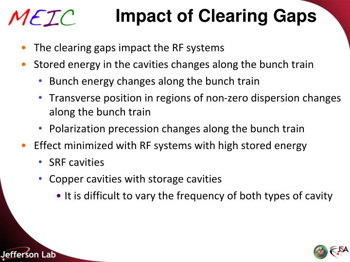 Impact of Clearing Gaps