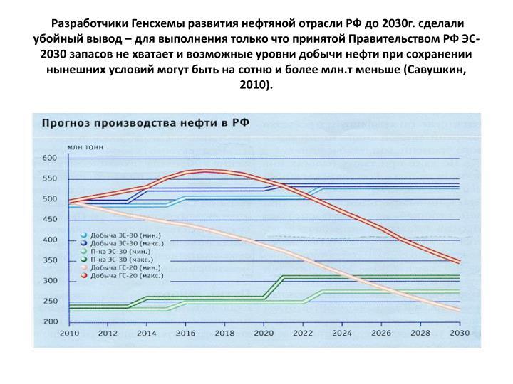 Разработчики Генсхемы развития нефтяной отрасли РФ до 2030г. сделали убойный вывод – для выполнения только что принятой Правительством РФ ЭС-2030 запасов не хватает и возможные уровни добычи нефти при сохранении нынешних условий могут быть на сотню и более млн.т меньше (Савушкин, 2010).