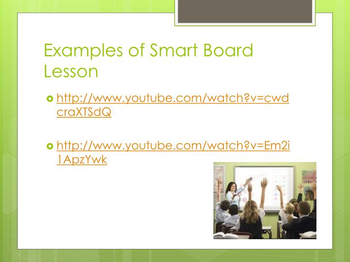 Examples of Smart Board Lesson