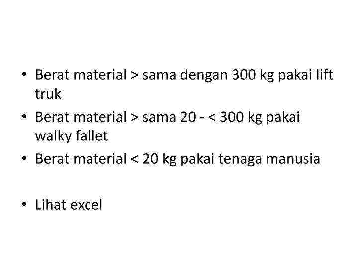 Berat material > sama dengan 300 kg pakai lift truk