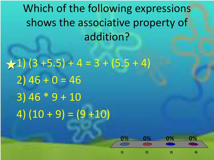 Which of the following expressions shows the associative property of addition?
