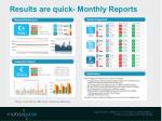 results are quick monthly reports