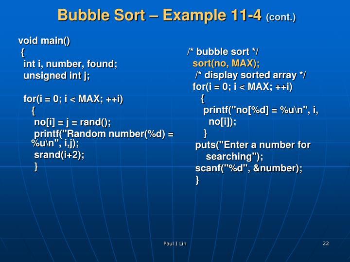 Bubble Sort – Example