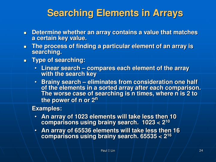 Searching Elements in Arrays
