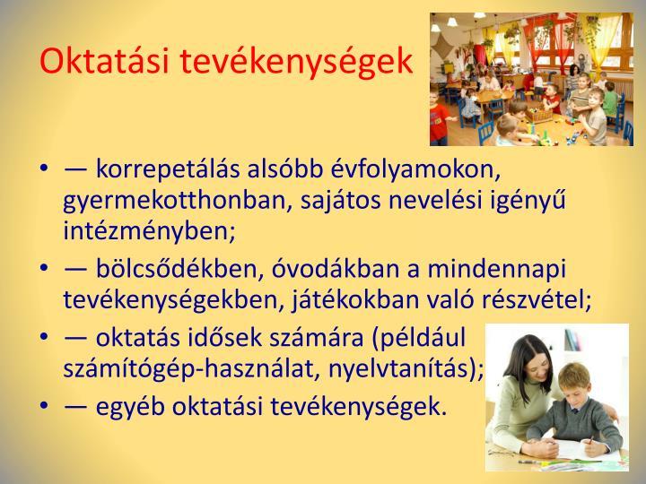 Oktatási tevékenységek