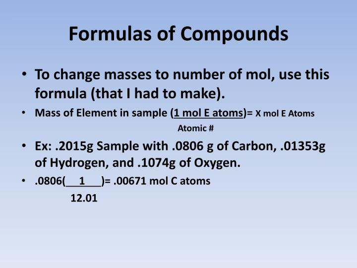 Formulas of Compounds