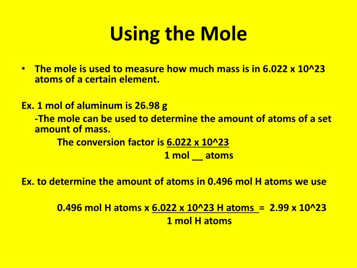 Using the Mole