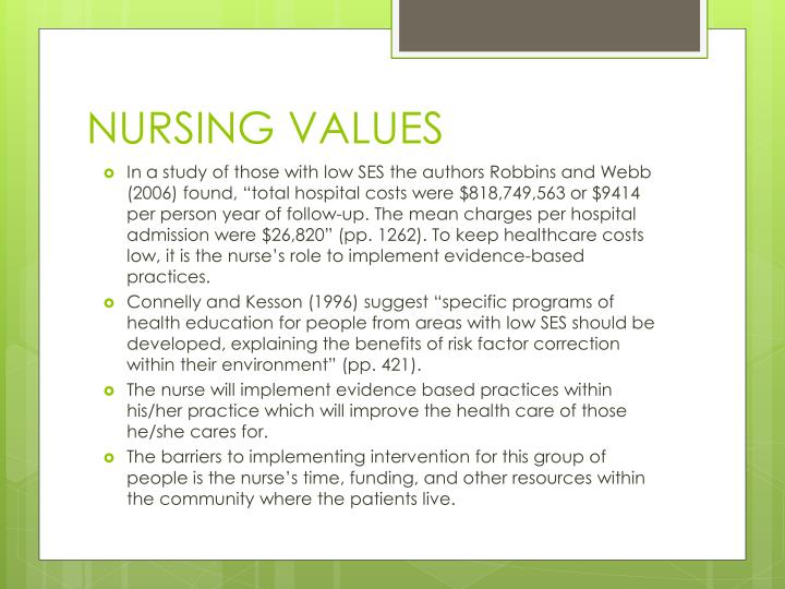 NURSING VALUES