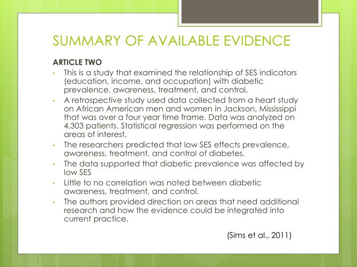 SUMMARY OF AVAILABLE EVIDENCE
