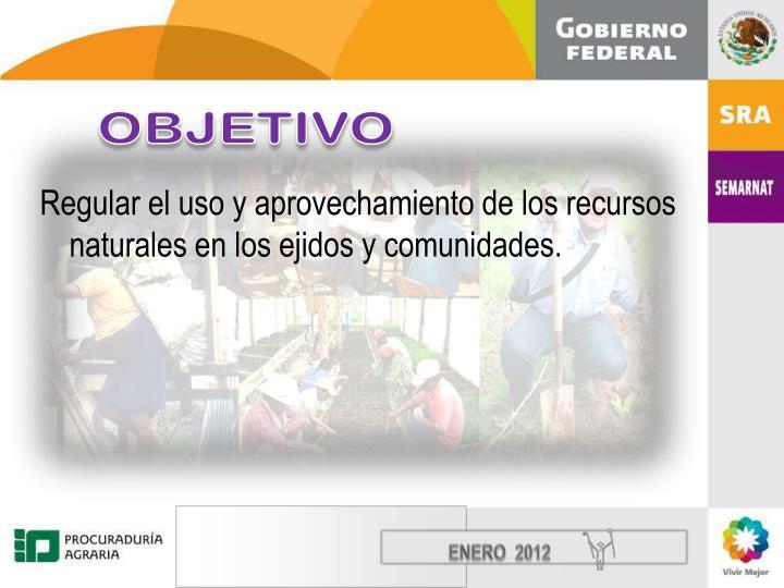 Regular el uso y aprovechamiento de los recursos naturales en los ejidos y comunidades.