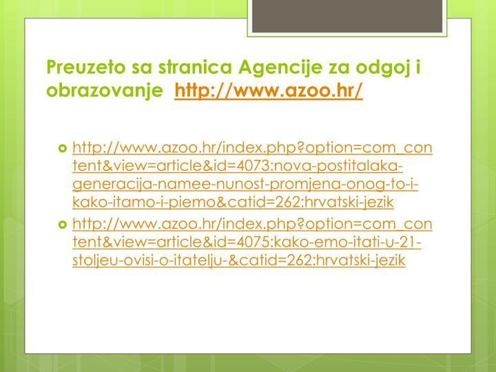 Preuzeto sa stranica Agencije za odgoj i obrazovanje