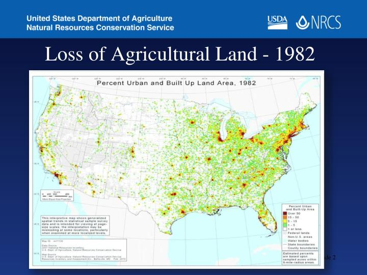 Loss of agricultural land 1982