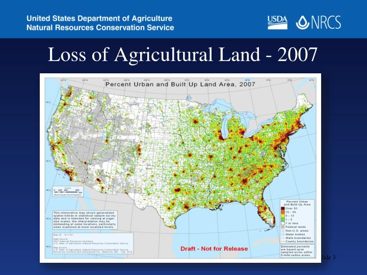 Loss of agricultural land 2007