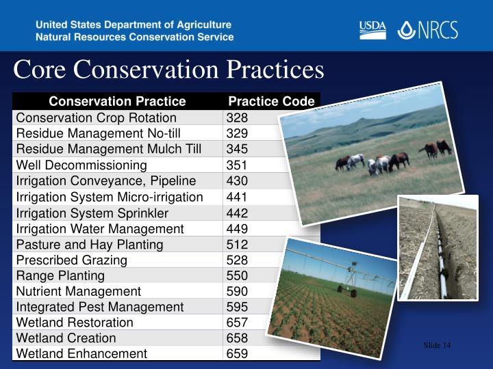 Core Conservation Practices