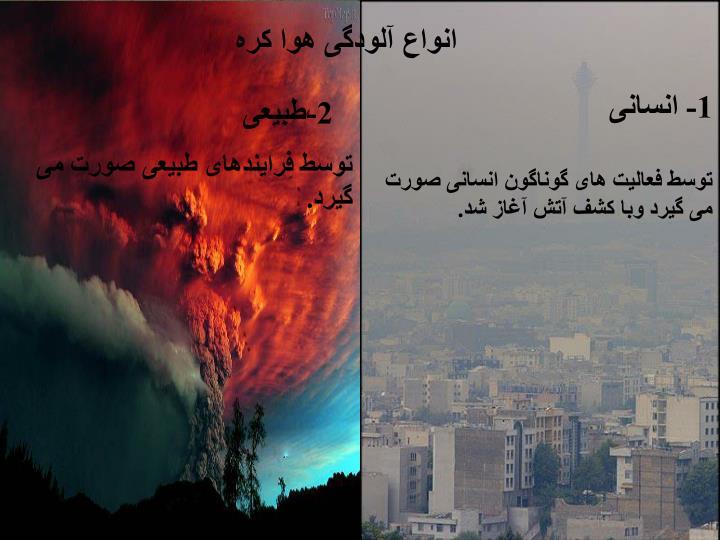 انواع آلودگی هوا کره