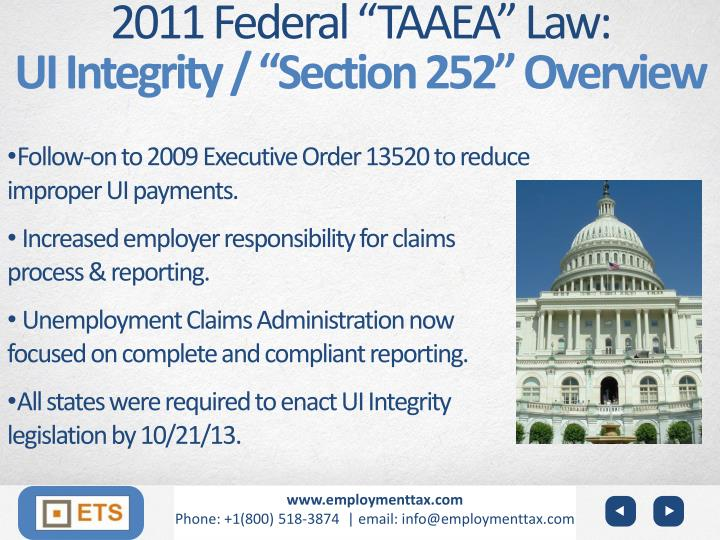 "2011 Federal ""TAAEA"" Law:"