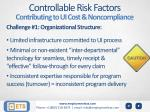 controllable risk factors contributing to ui cost noncompliance