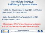 immediate impetus inefficiency systemic abuse