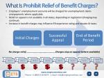 what is prohibit relief of benefit charges