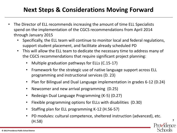 Next Steps & Considerations Moving Forward